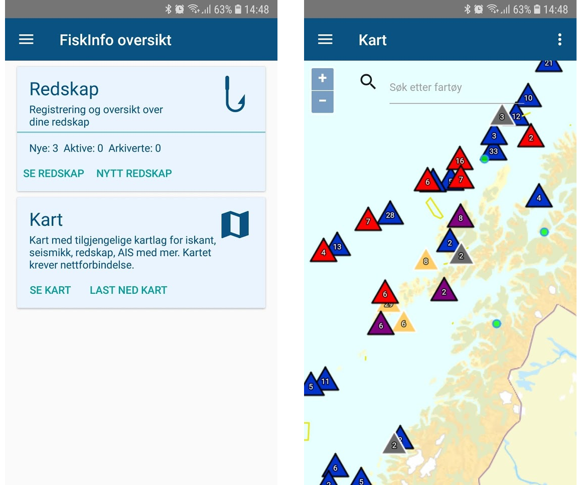 FiskInfo (Fish Info) mobile app providing maps and reporting of fishing equipment